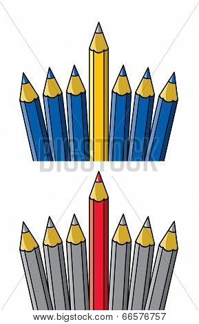 Vector Unique Pencil Standing Out From Others