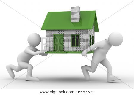 Two Men Carry House. Isolated 3D Image