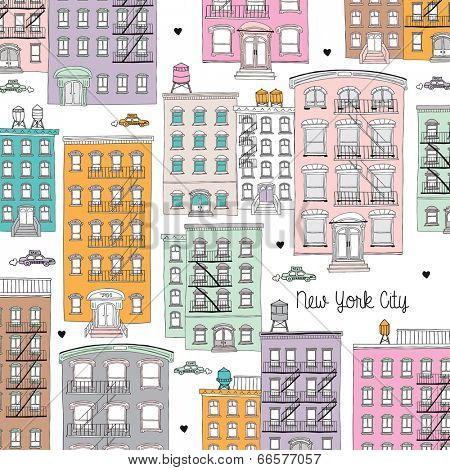 New York City architecture home illustration postcard design in pastel colors