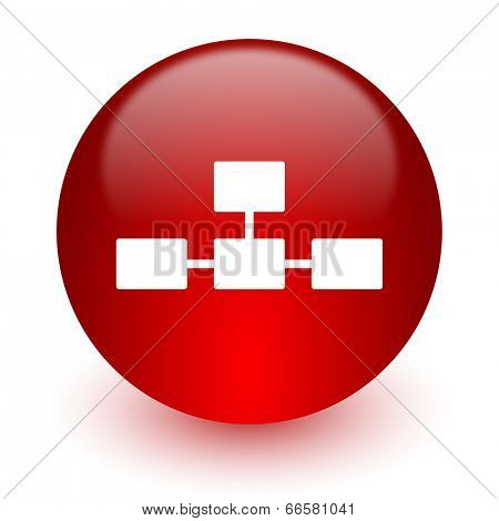 database red computer icon on white background