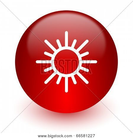 sun red computer icon on white background