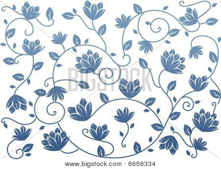 Blue Seamless Lotus Background