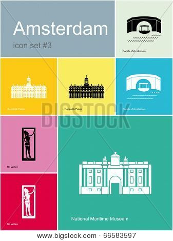 Landmarks of Amsterdam. Set of flat color icons in Metro style. Raster image