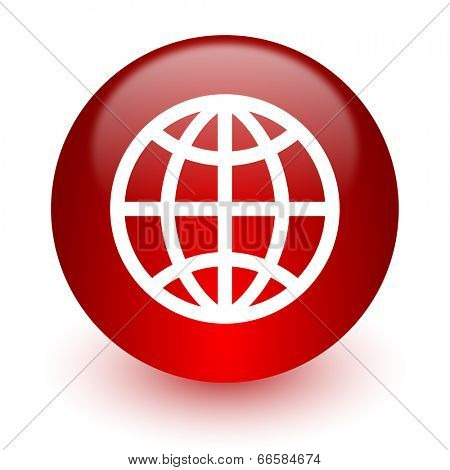 earth red computer icon on white background