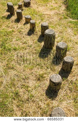 Wooden poles in balance course