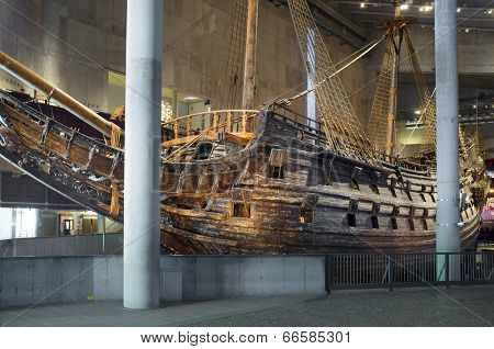 STOCKHOLM, SWEDEN - MAY 17, 2014: The Vasa Museum displays the only almost fully intact 17th century ship that has ever been salvaged, the 64-gun warship Vasa that sank on her maiden voyage in 1628.