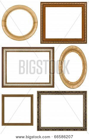 Set Of 6 Vintage Picture Frames, Isolated On White Background