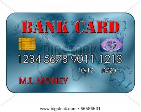 Bank Card In Red And Blue