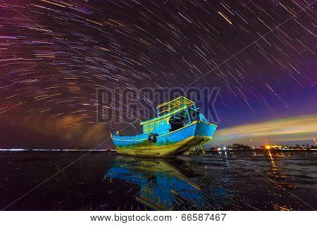 Stars move on boat