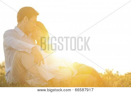 Loving young couple sitting on grass at park against clear sky