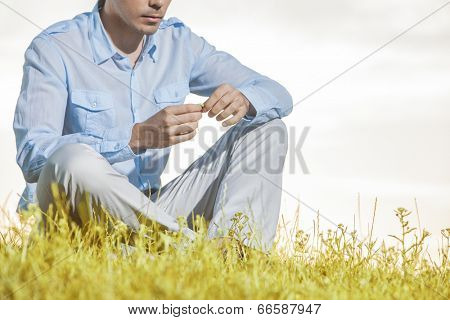 Midsection of man holding flower while sitting on grass against clear sky