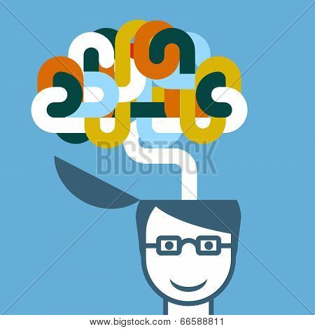Creative person - head with imaginative brain