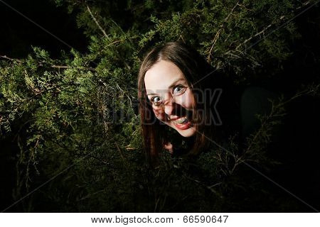 Girl Goofing In Trees