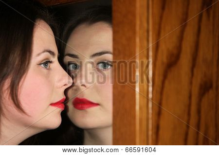 Woman Posing With Mirror Refection
