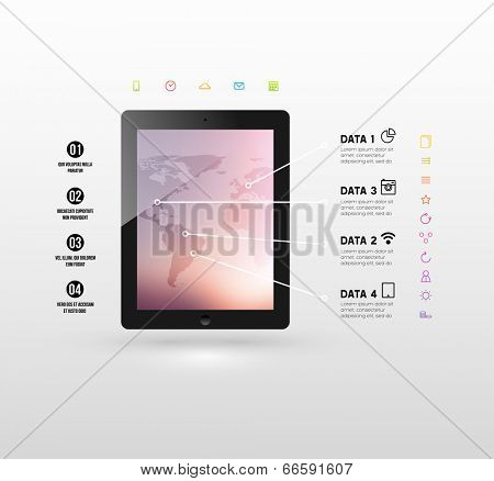 Black Tablet PC with Blurred Background and World Map. Flat Design Icons. Vector.