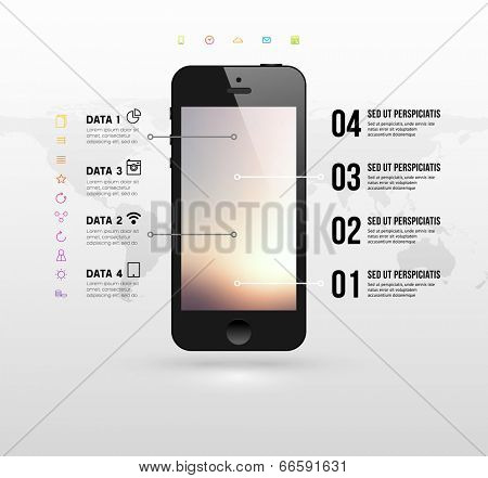 Black Mobile Phone with Blurred Background and World Map. Flat Design Icons. Vector.