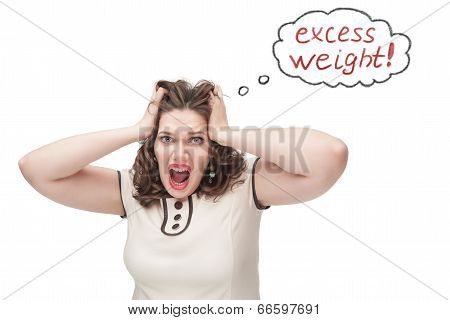 Plus Size Woman Screaming About Excess Weight