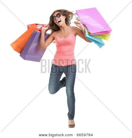 Happy Shopping Woman jumping