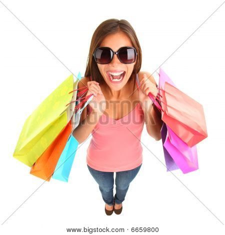 Shopping Girl Screaming Of Joy