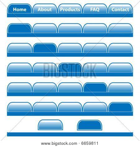 Web buttons blue navigation bars set