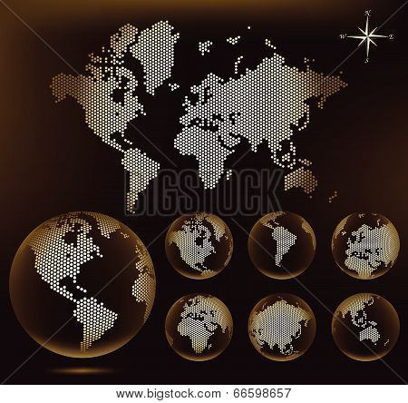 Dotted Map and Globe of the World - Brown ver