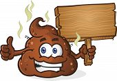 image of pooping  - A smelly pile of cartoon poop holding a wooden sign and giving the thumbs up gesture - JPG