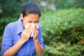 picture of allergy  - Closeup portrait young woman in blue shirt with allergy or cold blowing her nose with a tissue looking miserable  - JPG