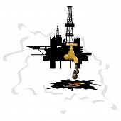 stock photo of drop oil  - Oil derrick crane from which the drip drop of oil on a background of abstract oil slick - JPG