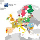 foto of sweden flag  - The European Union map and flags - JPG