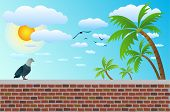 stock photo of bird fence  - a bird on brick fence with coconut tree - JPG