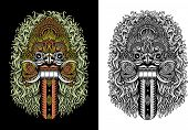 stock photo of evil queen  - fully editable vector illustration of balinese demon mask called rangda is the queen of the leak in the mythology of bali - JPG