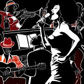 pic of trumpet  - Vector illustration of a Jazz band with double - JPG