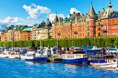 picture of old boat  - Scenic summer panorama of the Old Town  - JPG