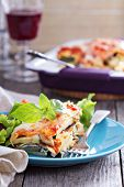 stock photo of lasagna  - Vegetable lasagna with zucchini - JPG