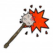 foto of mace  - cartoon bloody medieval mace - JPG