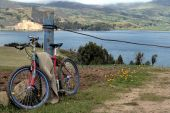 picture of farmworker  - A rustic cycle parked in a sowing field - JPG