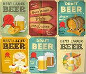 stock photo of malt  - Beer Retro Posters Collection in Vintage Design Style - JPG