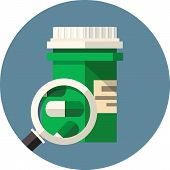 foto of lobbyist  - Vector medical pills bottle under the magnifying glass  - JPG