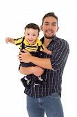 stock photo of pre-adolescents  - father and son hispanic on a white background - JPG