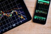 foto of stock market crash  - Macro view of stock market application on touchscreen smartphone - JPG