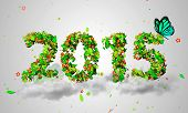 picture of blue butterfly  - 2015 New Year Leaves Particles Blue Butterfly 3D - JPG