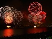 picture of reveillon  - beautiful fireworks celebrating new year on the beach - JPG