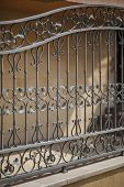 pic of erection  - detail of a decorative wrought iron fence with floral - JPG