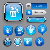 stock photo of dustbin  - Dustbin blue design elements for website or app - JPG