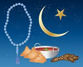 pic of samosa  - an illustration of iftar food including samosas and dates prepared for ramadan festival with blue prayer beads and an islamic crescent moon and star on a starry night background - JPG
