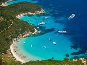 pic of greek-island  - Aerial view of Voutoumi beach in Paxos island Greece - JPG