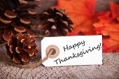 stock photo of thanksgiving  - White Label with Happy Thanksgiving and a Fall Background - JPG