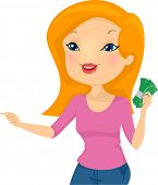 picture of bill-of-rights  - Illustration of a Girl Holding a Wad of Cash Pointing to the Right - JPG