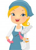 foto of housekeeping  - Illustration of a Girl Providing Housecleaning Service - JPG
