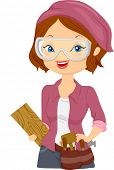 stock photo of woodcarving  - Illustration of a Girl Carrying Wood Carving Materials - JPG